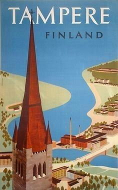 Tampere Finland Vintage Travel Poster Poster Paper by WallArty Vintage Travel Posters, Vintage Ads, Poster Retro, Poster Poster, Tourism Poster, Travel Ads, Illustrations Posters, Cities, Europe