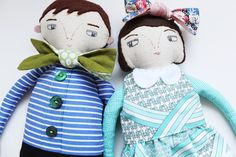 Custom made dolls made by Evie Barrow from HandmadeRomance - utterly gorgeous, wouldn't you love these guys - if your likeness - sitting on your shelf??!!!