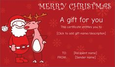 Santa Friend With Reindeer Gift Certificate #christmasgiftcoupon #giftcard #christmas #christmasgift  #merry #chirstmas #gift #certificate
