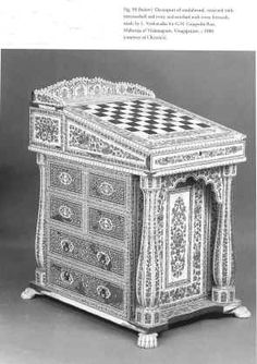 Hygra: Antique fine Anglo Indian (Vizagapatam) Sandalwood, horn, and ivory basket form box Circa 1870