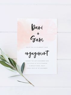 Printable watercolour engagement party invitation, watercolour engagement, watercolour wedding invitation / Etsy / by Rachel Vanderzon