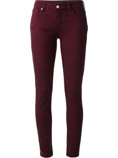 Merlot cotton blend stretch 'Power' skinny jean from Victoria Beckham featuring a slim fitting mid-rise waist, front button and fly fastening, classic five poc… Purple Skinny Jeans, Red Jeans, Mid Rise Skinny Jeans, Denim Skinny Jeans, Super Skinny Jeans, Jeans Pants, Slim Jeans, Trousers, Clothing Styles