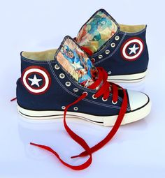 Hey, I found this really awesome Etsy listing at https://www.etsy.com/listing/225709743/captain-america-converse-shoes
