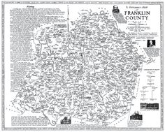 Map showing early settlers, towns, rivers in Franklin Co., VA