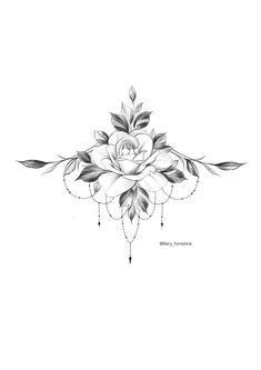 Excellent Écran Tatouage mandala Concepts,Rose Tattoo / Tätowierer Bery / Tattooflash - F. Maori Tattoos, Leg Tattoos, Body Art Tattoos, Sternum Tattoos, Rose Underboob Tattoo, Tatoo Rose, Tatoos, Rose Tattoo On Back, Tummy Tattoo