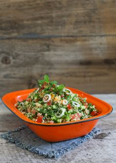 Kale Tabbouleh with Cucumber, Mint and Garlic Scapes   Simple Bites #recipe #salad #eatseasonal