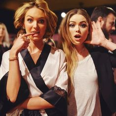 Candice Swanepoel with blogger Kristina Bazan backstage at the 2014 Victoria's Secret Fashion Show