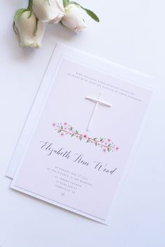 Watercolor Flowers, White Handmade Cross, Boy or Girl Baptism Invitation, Printable or Printed - Your Choice, New by Paradise Invitations by ParadiseInvitations on Etsy