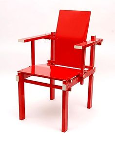 Wooden fauteuil with bent plywood seat and back red lackered with white accents design Gerrit Rietveld 1925 executed by Gerard van de Groenekan 1904-1994 de Bilt / the Netherlands 1985