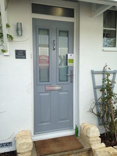 Stunning French Grey Ludlow 2 Solidor with Victorian glass fitted in Clanfield ,Oxfordshire By Rock Solid Doors Grey Composite Front Door, Yellow Front Doors, Grey Doors, Painted Front Doors, Door And Window Design, Front Door Design, Solidor Door, Fromt Doors, House Front Door