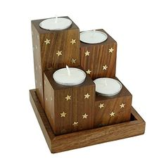 Handmade Wooden Tea Light Candle Holder Set Of 4 Brass Inlay StarWith Tray And 4 Candles Cups  Artisan Crafted in India * Want additional info? Click on the image.