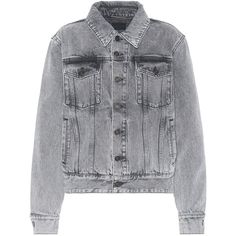 Saint Laurent Denim Jacket (15 585 ZAR) ❤ liked on Polyvore featuring outerwear, jackets, grey, yves saint laurent jacket, gray denim jacket, gray jacket, yves saint laurent and jean jacket