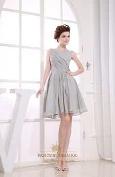 FancyBridesmaid.com Offers High Quality Gray Short Pleated Chiffon A-Line Bateau Bridesmaid Dresses,Priced At Only USD USD $98.00 (Free Shipping)