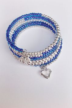 Blue Czech Seed Bead & Silver Plated Beaded Memory by SparklyBliss, $19.00