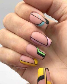 The work of the master Krasnodar . Chic Nails, Dope Nails, Stylish Nails, Trendy Nails, Swag Nails, Nail Design Glitter, Nail Design Spring, Yellow Nails, Pink Nails