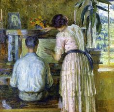 ♪ The Musical Arts ♪ music musician paintings - Louis Ritman | The Piano Lesson, 1914