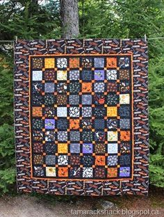 """Rae's Halloween quilt, made with a dynamic border print, quilted by Kathy Schwartz at Tamarack Shack.  Kathy used a pantograph called """"Gossamer"""" that resembles a spiderweb."""