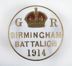 Birmingham Pals Battalion recruitment badge, 1914