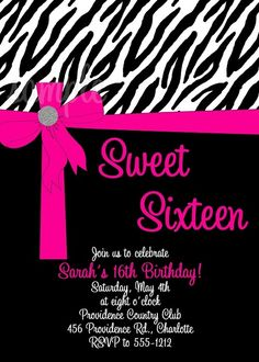 Hot Pink Zebra Print Sweet Sixteen Party Invitation, Cutie Patootie Creations  www.cutiepatootiecreations.com