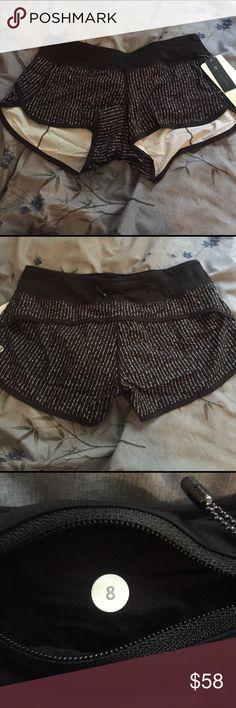 Lululemon Speed Shorts Sz 8 Item: Speed Shorts  Colour: Pinstripe Black White / Black Size: 8 Condition: NWT Notes: N/A lululemon athletica Shorts