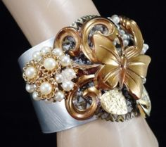 Butterfly Beauty  Assemblage Collage Cuff by InVintageHeaven, $65.00