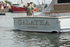 #TRANSOM: Galatea, Providence #Boat #Transom #BoatTransom  TRANSOM #TECHNIQUE: #GoldLeaf   #BOAT #BUILDER #BoatBuilder: #RichyHowellCustomYachts, #NorthCarolina