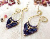 Brass and macrame earrings, tribal jewelry,maya tribe inspired earrings. $20,00, via Etsy.