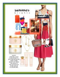 """""""Summer Brights To Summer Nights"""" by onesweetthing on Polyvore featuring Tory Burch, Improvements and Folio"""