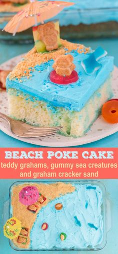 This beach theme poke cake would be a hit at a beach theme party or under the sea theme party! Kids will have fun decorating the top of this beach cake with teddy grahams, gummy sea creatures, and graham cracker sand. Beach Theme Desserts, Beach Dessert, Beach Theme Cupcakes, Beach Themed Cakes, Summer Desserts, Fun Desserts, Beach Themed Food, Theme Cakes, Party Cakes