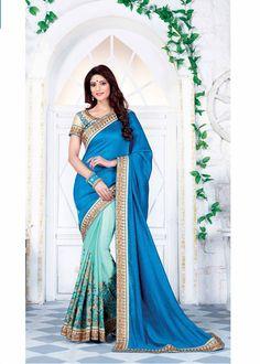 Exclusive wedding wear blue silk embroidered sari