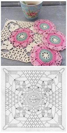 İşi Örgü Motif Şemaları -Tığ İşi Örgü Motif Şemaları - Crochet Christmas - It For You Shawl Pannello porta lavoro realizza Crochet granny avec diagramme ergahandmade: Crochet Stitches + Diagrams - Love Crochet Crochet Granny Square Rose S – Salvabrani Crochet Motifs, Crochet Blocks, Granny Square Crochet Pattern, Crochet Diagram, Crochet Stitches Patterns, Crochet Chart, Crochet Squares, Love Crochet, Crochet Designs
