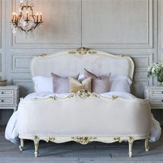 Eloquence French Country Style Vintage Bed with Velvet French Country Bedding, French Country Bedrooms, French Country Style, French Country Lighting, French Country Fabric, European Bedroom, European Home Decor, European Apartment, French Bedroom Decor