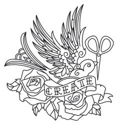 """Flight of Imagination""  Detailed tattoo styling makes up an inspiring crafty design. Downloads as a PDF. Use pattern transfer paper to trace design for hand-stitching.  -  UTH6388 (Hand Embroidery)  00452995-050713-0940-8"