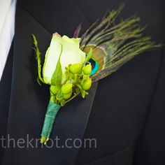 Rose & Peacock Feather Boutonniere