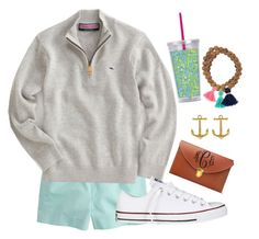 """My brother got this pullover for $7 at miracle hill!!"" by margaretinmotion ❤ liked on Polyvore featuring Lilly Pulitzer, J.Crew, Vineyard Vines, Converse, Fornash and realworld"