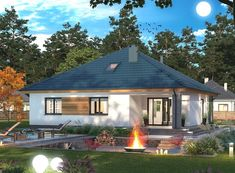 DOM.PL™ - Projekt domu ARP TRYTON 3 B CE - DOM AP2-28 - gotowy koszt budowy Village Houses, Gazebo, House Plans, Outdoor Structures, Cabin, Architecture, House Styles, Outdoor Decor, Home Decor