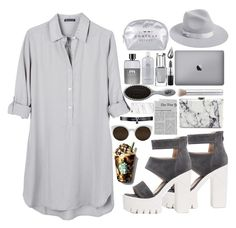"""Grey"" by fashionable1looks ❤ liked on Polyvore featuring United by Blue, Lack of Color, Gucci, The Wet Brush, La Prairie, rms beauty, MAC Cosmetics, Balenciaga, Fallon and RetroSuperFuture"