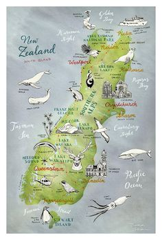New Zealand Map of South Island, Giclee Print, New Zealand poster, NZ art… Wanaka New Zealand, Queenstown New Zealand, Auckland New Zealand, Christchurch New Zealand, Map Of New Zealand, New Zealand Tours, New Zealand Travel, Nz South Island, Travel Journals