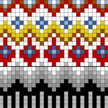 Åkle i krokbragd og kjerringtann fra Ål - Åklær fra Buskerud - Fagsider - Norges… Weaving Loom Diy, Inkle Weaving, Inkle Loom, Hand Weaving, Fair Isle Knitting Patterns, Knitting Charts, Weaving Patterns, Knitting Stitches, Punto Fair Isle