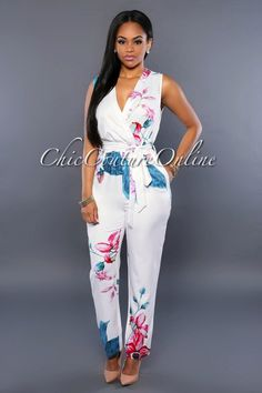 Chic Couture Online - Havana White Multi-Color Floral Jumpsuit, (http://www.chiccoutureonline.com/havana-white-multi-color-floral-jumpsuit/) #womensjumpsuitscasual