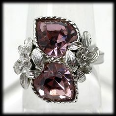 Sarah Coventry Pink Love Story Ring Vintage 1970s October Birthstone
