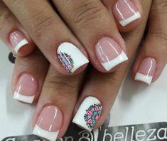 Uñas estilo francés Cute Nail Designs, Acrylic Nail Designs, Stylish Nails, Trendy Nails, Love Nails, Fun Nails, Summer Acrylic Nails, Manicure E Pedicure, Nails Inspiration