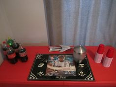 Drink table setting for Daytona 500 party.