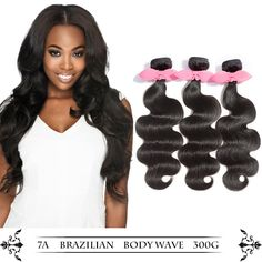 Brazilian Virgin Hair,Luiva Human Hair Weave Extensions Body Wave 3 bundles 300g 1B (101212) * This is an Amazon Affiliate link. Visit the image link more details.