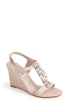 0777c5e42fd9  Marzia  Crystal  amp  Leather Wedge Sandal by Dune Pink Sandals
