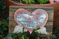 Secret To Having It All, Whimsical, Painted and Distressed, Recycled Wood Sign, Wood Heart with Painted Wings, Bond Gypsy