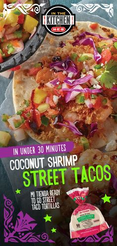 These street-style coconut shrimp tacos pack the perfect combination of sweet and spicy flavor. Ready in 30 minutes or less. Healthy Coconut Shrimp, Coconut Shrimp Recipes, Fish Recipes, Seafood Recipes, Mexican Food Recipes, Vegetarian Recipes, Cooking Recipes, Street Tacos, Good Food