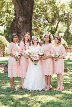 "Modest blush pink lace ""A Night in Paris"" bridesmaid dresses. Photo: The Photege - http://ishootwithmyheart.com/"