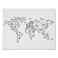 Geometric world map Poster