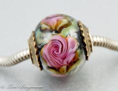 Pink Rose European Charm Bead Handmade Lampwork by LoriBergmann